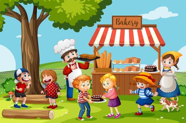 Voorkant van bakkerijwinkel met bakker in de parkscène