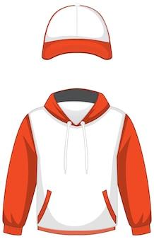 Voorkant van basic witte en oranje hoodie en pet geïsoleerd