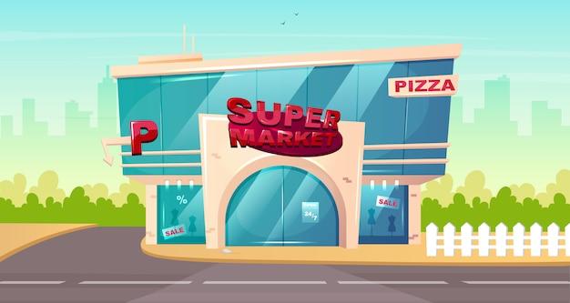 Voorkant van de supermarkt