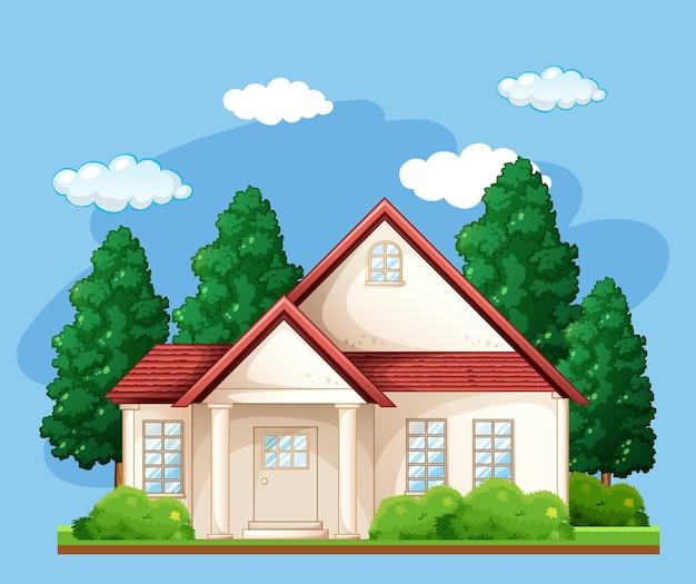 Voorkant van een huis met veel bomen op blauwe achtergrond