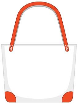 Voorkant van eenvoudige witte handtas geïsoleerd