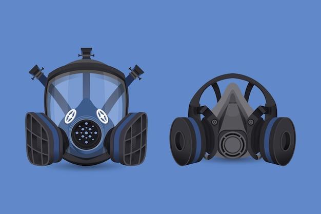 Voorkant van gasmaskers set