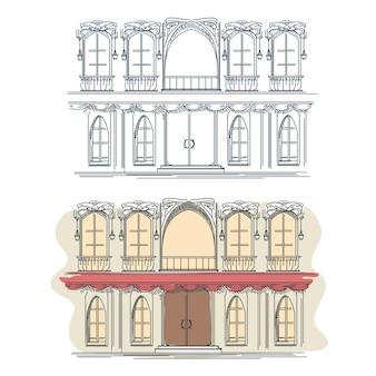 Voorkant van het huis in franse retrostijl. architectuur voorkant gebouw gevel voorkant, franse voorkant, straat voorkant.