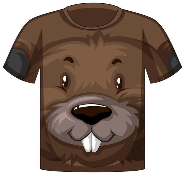 Voorkant van t-shirt met bevergezicht