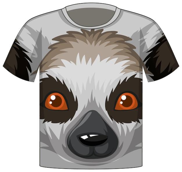 Voorkant van t-shirt met gezicht van dierenpatroon