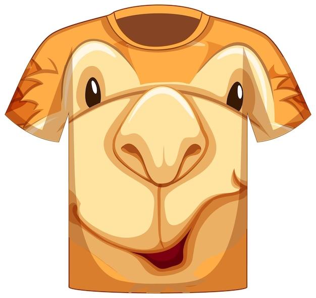 Voorkant van t-shirt met gezicht van kameelpatroon