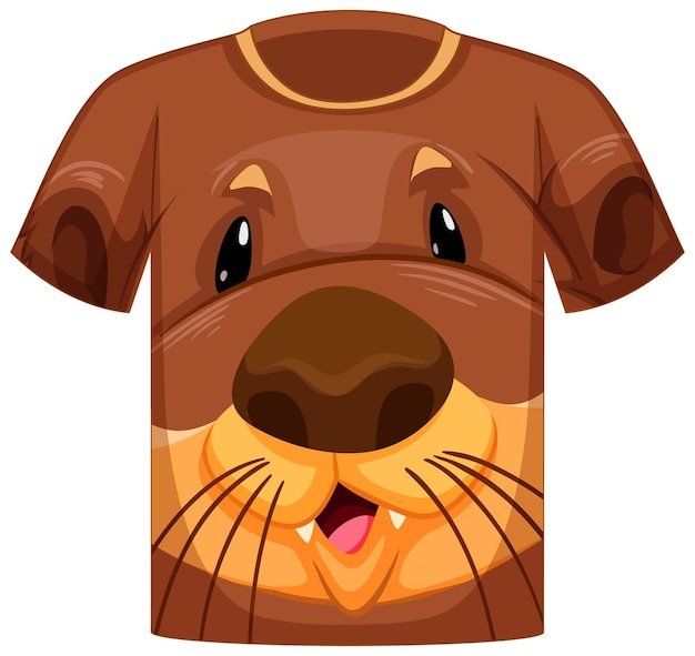 Voorkant van t-shirt met gezicht van otterpatroon