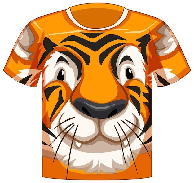 Voorkant van t-shirt met gezicht van tijgerpatroon