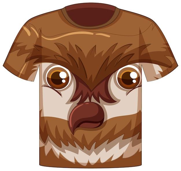 Voorkant van t-shirt met gezicht van uilpatroon