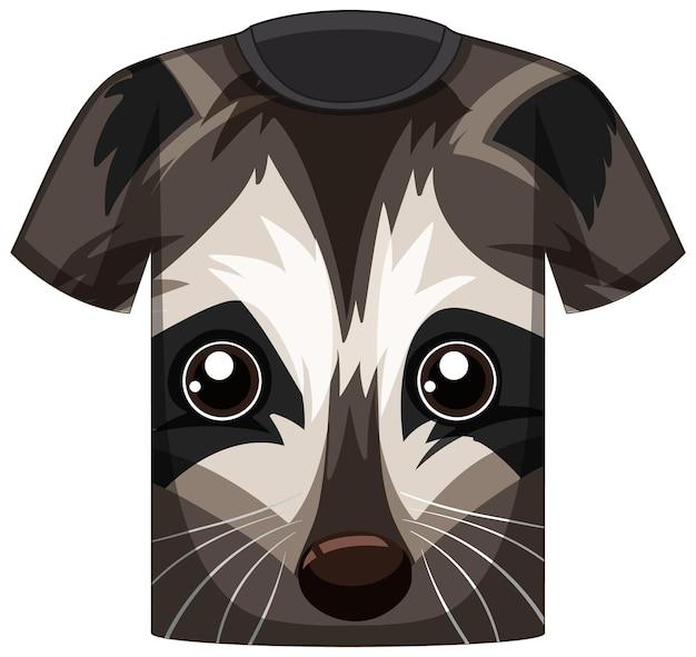 Voorkant van t-shirt met gezicht van wasbeerpatroon