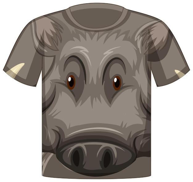 Voorkant van t-shirt met gezicht van wild zwijnpatroon