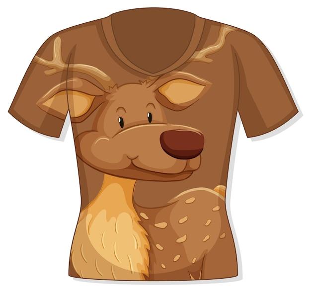 Voorkant van t-shirt met hertenpatroon