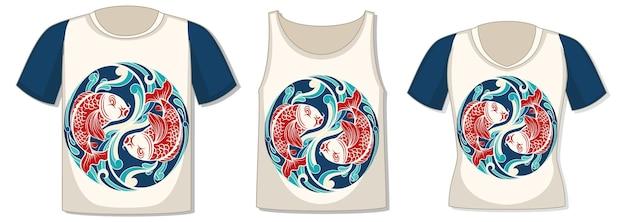 Voorkant van t-shirt met koikarpersjabloon