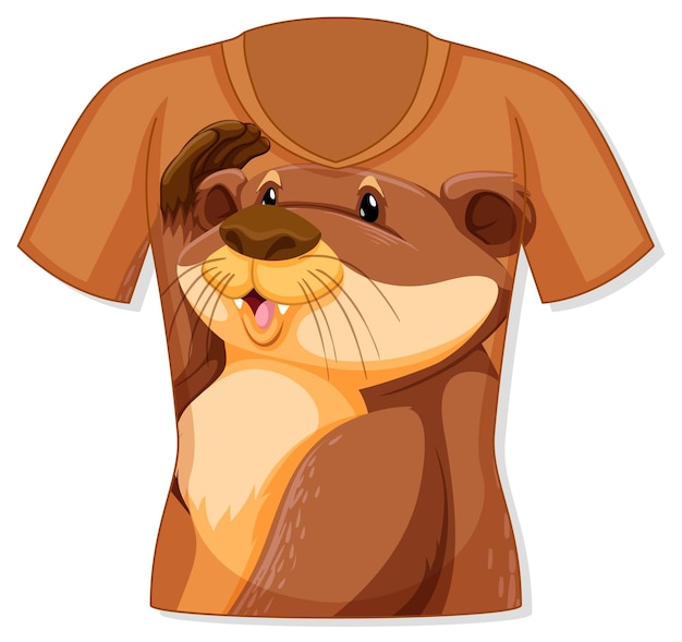 Voorkant van t-shirt met otterpatroon