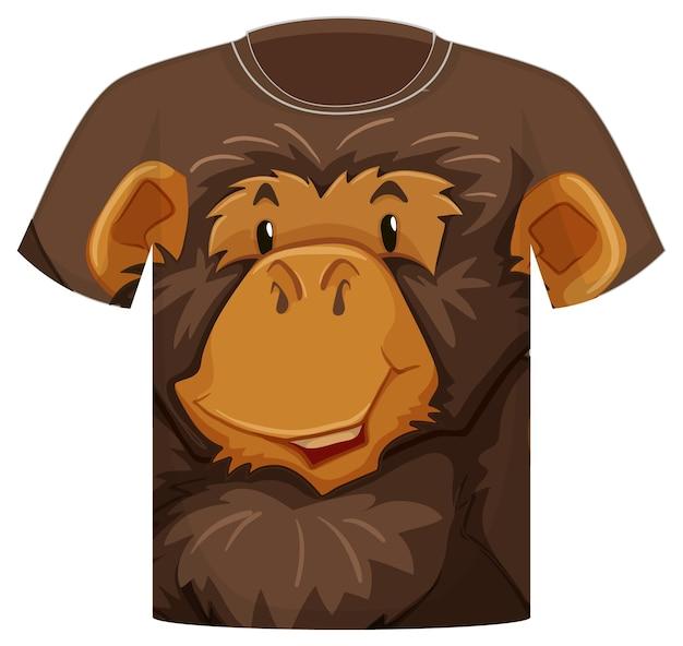 Voorkant van t-shirt met patroon van aapgezicht