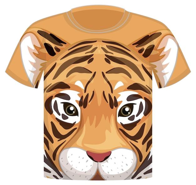 Voorkant van t-shirt met patroon van tijgergezicht