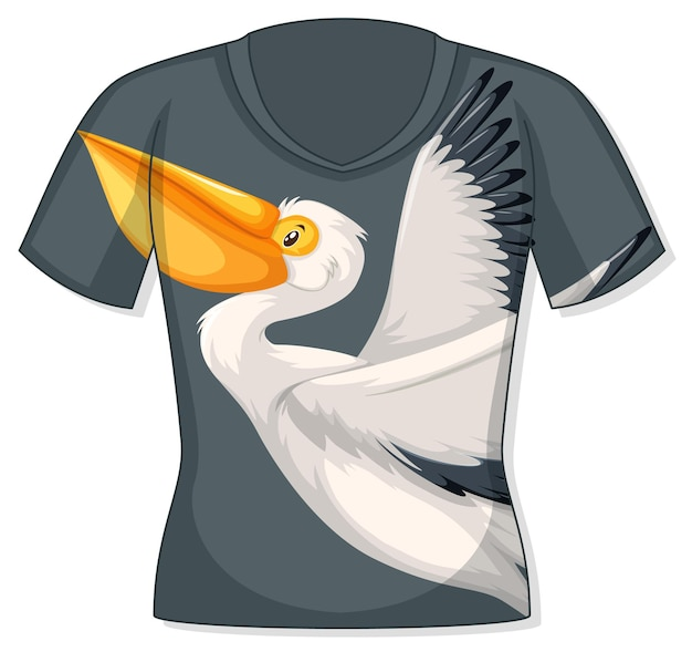 Voorkant van t-shirt met pelikaanpatroon