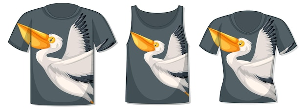 Voorkant van t-shirt met pelikaansjabloon