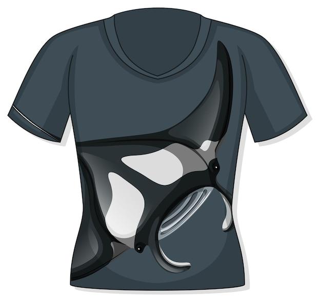 Voorkant van t-shirt met pijlstaartrogpatroon