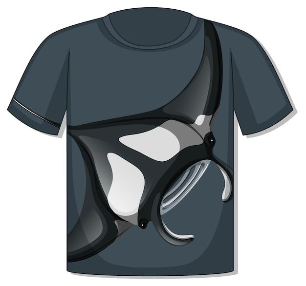 Voorkant van t-shirt met pijlstaartrogsjabloon