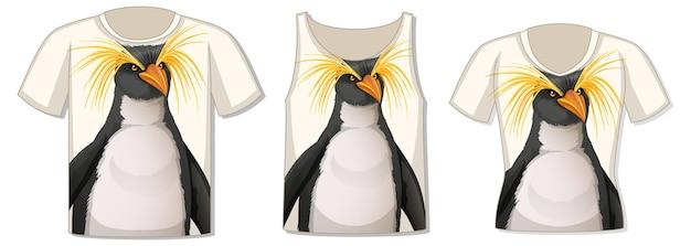 Voorkant van t-shirt met pinguïnsjabloon