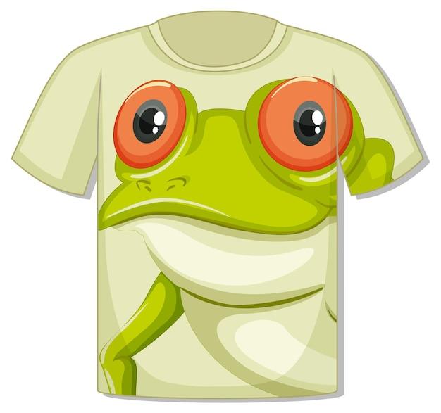 Voorkant van t-shirt met sjabloon voor kikkergezicht