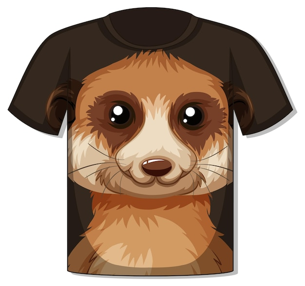 Voorkant van t-shirt met sjabloon voor meerkatgezicht