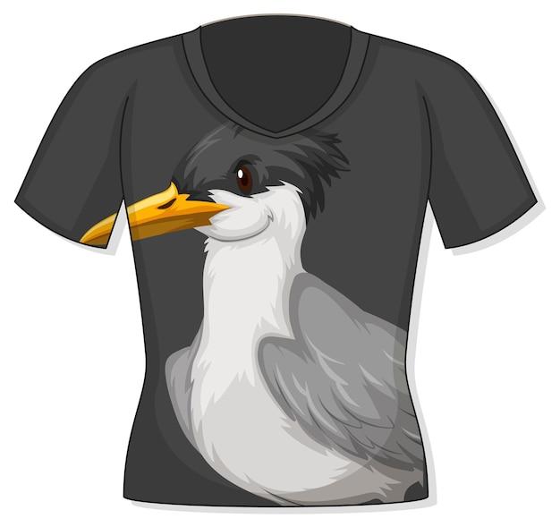 Voorkant van t-shirt met vogelpatroon