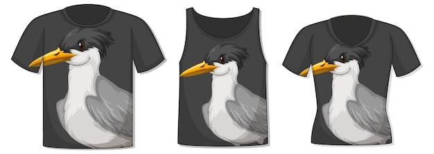 Voorkant van t-shirt met vogelsjabloon