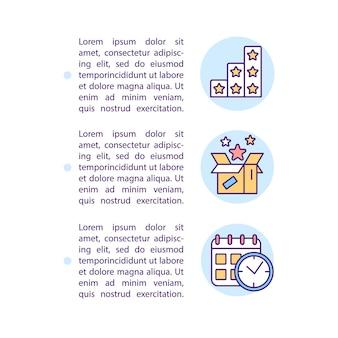 Voorkeursvoordelen en op timing gebaseerde segmenten conceptlijnpictogrammen met tekst