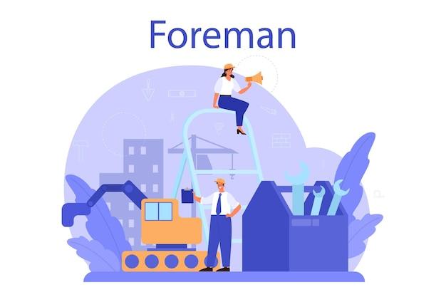 Voorman concept. hoofdingenieur die leidt op bouwplaats. professionele bouwer in helm, bouwsector, woningontwikkelingsbedrijf. vlak. vector illustratie.