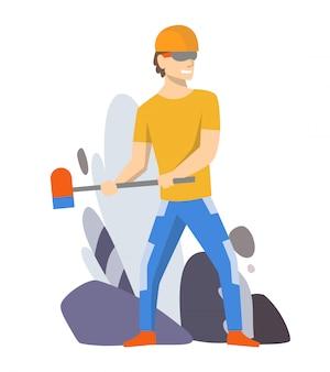 Voorman of werknemer voor de bouw. geïsoleerde karakter. eenvormige man die en hamer gebruikt voor haar baan