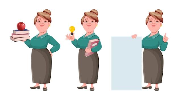 Voorraad gelukkig lachend middelbare leeftijd vrouw leraar set van drie poses