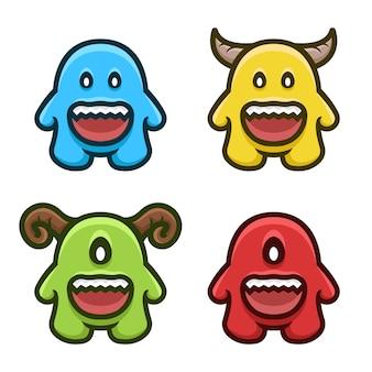 Voorraad vector kleurrijke monster set mascotte logo set.