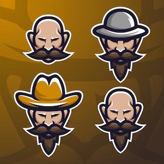 Voorraad vector oude baard man mascotte logo set.