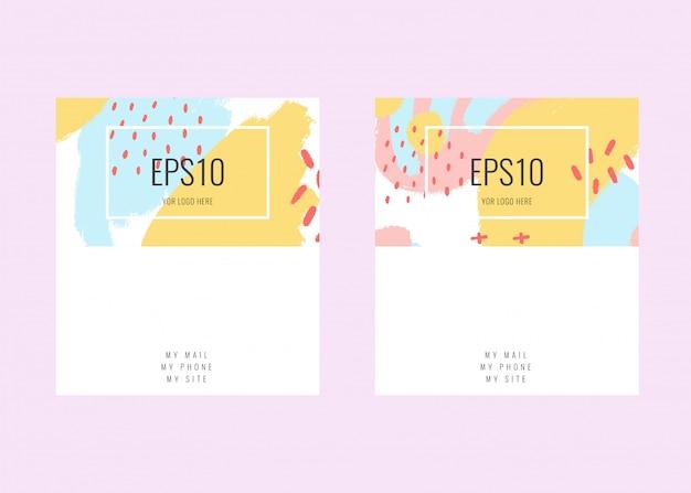 Voorraad vector visitekaartje met een pastel kleur ontwerp. memphis stijl