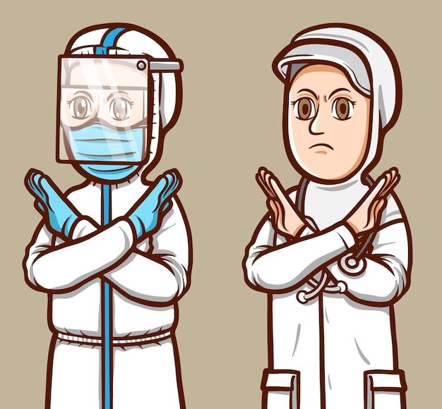 Voorraad vector vrouwelijke artsen in gekruiste armen poseren geïsoleerde illustratie