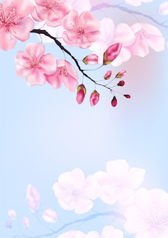 Voorraad vectorillustratie voor valentijnsdag of japanse lente kaarten met sakura takken. lente en zomer botanische sjabloon kersen bloemen voor website banner bruiloft of wenskaart.
