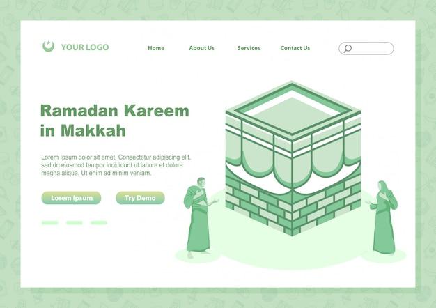 Voorraad vectorpagina landing ramadan kareem met mensen doen bidden in de buurt van heilige kabbah