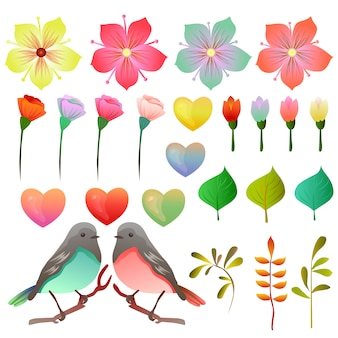Voorraadverzameling valentijnskaart met vogel en bloemen