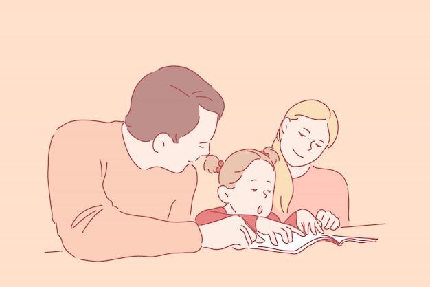 Voorschoolse educatie, ouderschap, jeugd. een klein meisje leert lezen of schrijven met jonge ouders. gelukkige, glimlachende moeder en vader onderwijzen hun dochter thuis. eenvoudig plat