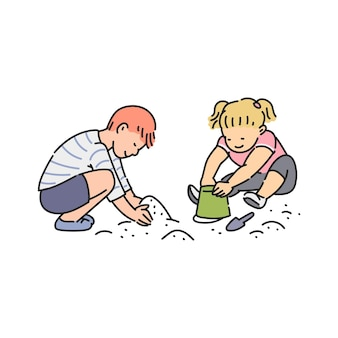 Voorschoolse leeftijd kinderen stripfiguren spelen met zand in zandbak, schets illustratie op wit
