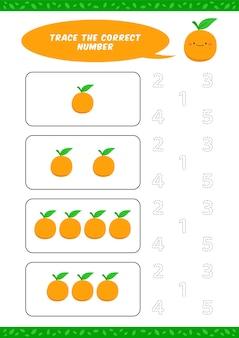 Voorschoolse tellen leren werkblad tracering schrijven nummer activiteit