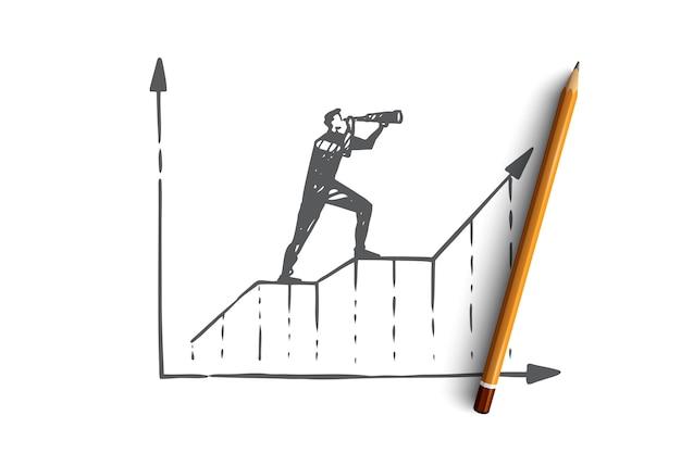 Voorspelling, grafiek, groei, vooruitgang, diagramconcept. hand getrokken zakenman kijkt door kijker concept schets.