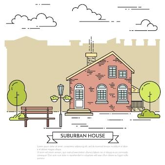 Voorstadlandschap met huis, bomen en bank.