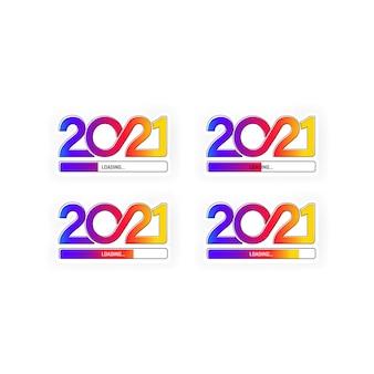 Voortgangsbalk met het laden van het ingestelde pictogram voor 2021. vector op geïsoleerde witte achtergrond. eps-10.