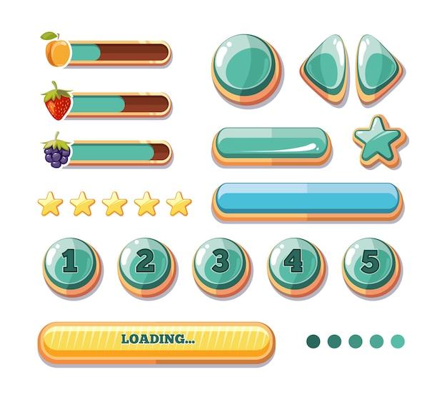Voortgangsbalken, knoppen, boosters, pictogrammen voor de gebruikersinterface van computerspellen. cartoon gui voor spelen. vec