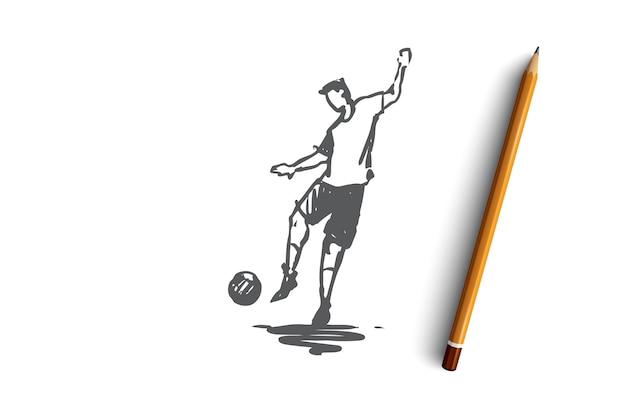 Vooruit, voetbal, speler, actie, doelconcept. hand getekende voetbalspeler met bal concept schets. illustratie.