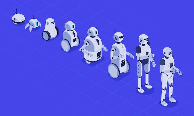 Vooruitgang in robotica, futuristische robotmachines en robot-android-ontwikkeling.