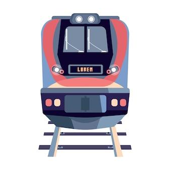 Voorwagen van trein op rails plat Gratis Vector